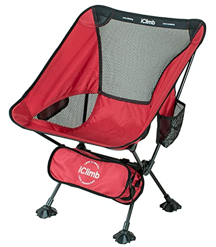 iClimb Ultralight Compact Camping Folding Beach Chair with Anti-Sinking Large Feet and Back Support Webbing (Red - Basic)