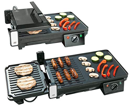 Rosenstein & Söhne Sandwichmaker: Elektrischer 2in1-Tischgrill mit Kontaktgrill, Grillplatte, 2.000 Watt (Balkon Grill)