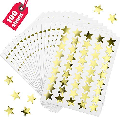 100 Hojas 4500 Piezas Pegatinas de Estrellas de Papel Aluminio Pegatinas de Recompensa para Hogar Escuela Bar DIY y Oficina (Dorado)