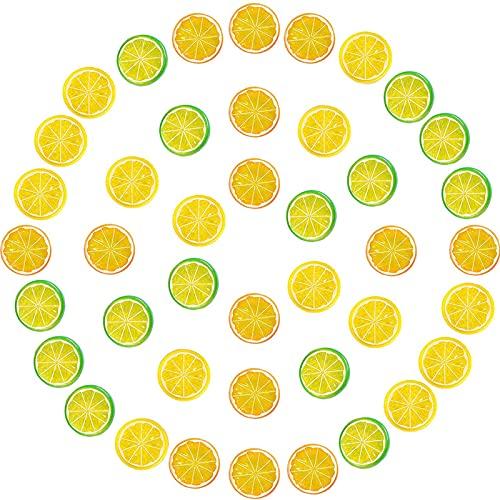 AHURGND 30 PCS Bloque de rebanadas de limón de fruta artificial, rebanadas de limón de simulación, decoración del modelo de fruta realista, fruta fake de plástico, para la fiesta en casa Festival de c