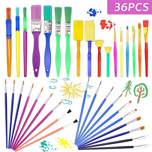 AYUQI 36 Pezzi Kit Pittura Bambini, Set di Pennelli per Pittura, la Pittura di DIY Arte e Mestieri, DIY Pennelli Washing Graffiti Tools per Bambini