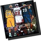 ジョーダン & コービー & レブロン 海外製 NBAグラフィックアートパネル 木製 壁掛け ポスター インテリア バスケットボールグッズ (26*26cm アートパネルのみ)