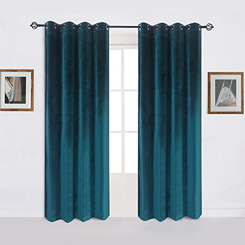 Super Soft Luxury Velvet Set of 2 Dark Green Blackout Energy Efficient Grommet Curtain Panel Drapes Peacock-blue 52Wx108L(2 panels)