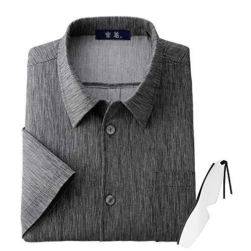 日本製紳士高島ちぢみ7分袖シャツ 35166 しおり型ルーペ付き (ブルーM)