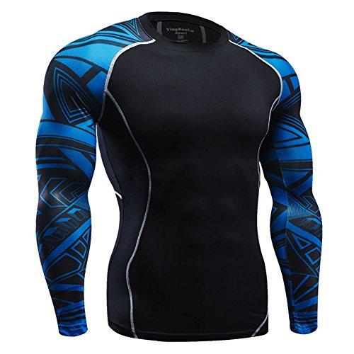 FITIBEST メンズ スポーツシャツ スポーツウェア 着圧 加圧インナー 長袖 加圧シャツ UVカット 吸...
