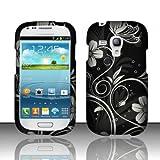 Black White Flower Hard Cover Case for Samsung Galaxy S3 Mini i8190 GT-I8190