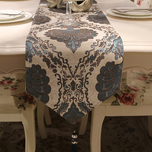 TABLE RUNNER paleis Patroon geborduurd Chenille Stof Tafelvlag Europese stijl luxe tafelkleed klassieke Wild salontafel decoratie Huismeubels grijs