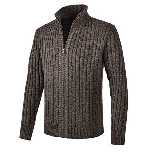 VOBOOM Men Full Zip Cardigan Sweater Slim Fit Cable Knitted Sweater (Coffee, Large)