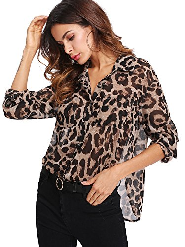 Floerns Women's Long Sleeve Button Down Sheer Leopard Print Chiffon Blouse Shirt Multi Brown S