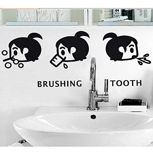 PISKLIU Muurstickers Cartoon Kleine Meisje Borstelen Tand Muursticker Thuis Badkamer Wastafel Decoratie Mural Art Decals Leuke Kids Stickers Wallpaper