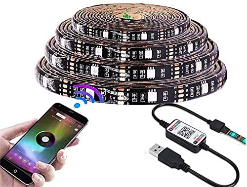 HEGEHE tiras de luz LED impermeables 5 V 5050 luces de tira LED para pantallas de TV o para armario, luz de gabinete, tira de luz de armario de zapatos y luces RGB coloridas Bluetooth control