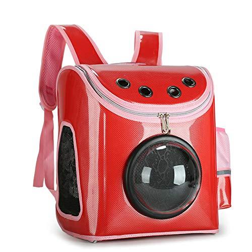EREW Mochila para Mascotas De Tela De Oxford Transpirable, Mochila De Gato Y Perro, Techo Solar Panorámico Transparente, Adecuado para Pequeños Gatos Y Perros, Caja Fuerte,Rojo