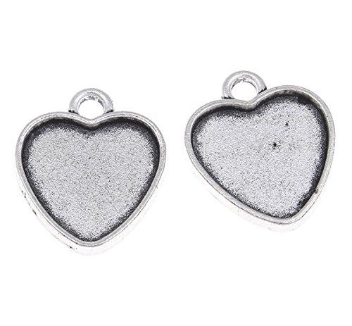 Perlin 15 FASSUNGEN Kettenanhänger Silberfarbe Herz für 16 mm Cabochon M509