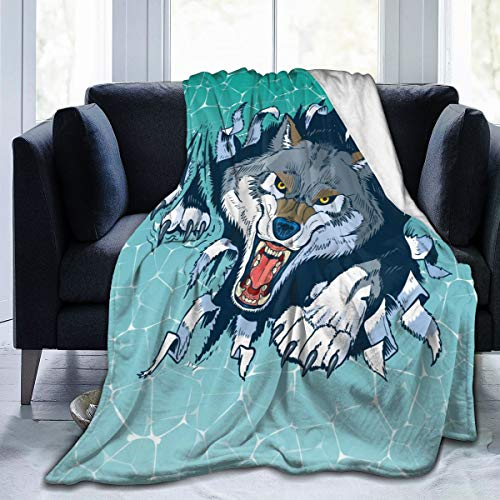 Ferocious Wolf Blanket Soft and Warm Flannel Fluffy Lightweight Breathable Throw for Cinema Yoga Camping Picnic Travel Beach Home Size for Kids Teens Adults