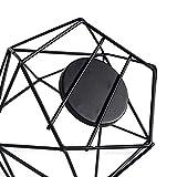 JUNGEN 2er Set 3D Geometrisch Kerzenständer Kerzenhalter Metall Vintage Kerzenständer Teelichthalter Deko Tischdeko für Hochzeit Weihnachten Wohnzimmer, 13 × 10 cm(Schwarz) - 6