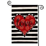 AVOIN Love Heart Garden Flag Vertical Double Sized, Valentine's Day Anniversary Wedding Yard Outdoor Decoration 12.5 x 18 Inch