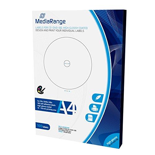 MediaRange Etiketten für CD|DVD|BD, 15-118mm, hochglänzend, 100er Pack