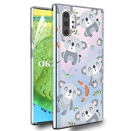 OKZone Coque Galaxy Note 10 Plus [avec de Protection écran], Ultra Mince Motif Créatif Claires Souple Transparent Housse Etui pour Samsung Galaxy Note 10 Plus (Koala)