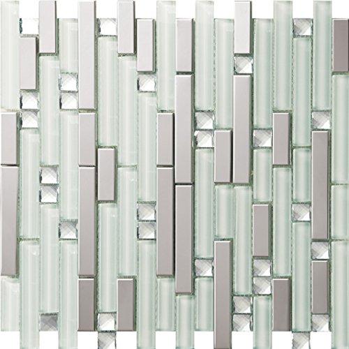 NEW !Lucente Mosaico allungata Tailles mixtes mosaico quadrato Vetro e acciaio inox mosaico mattonelle arte della parete 300*300mm--Cucina Backsplash/Parete da bagno/decorazione domestica(SA047-3/18)