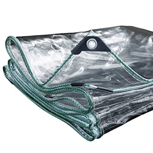 0.55mm Clear Tarpaulin with Eyelets,Outdoor Shade Awning Cloth,Heavy Duty Waterproof,Dustproof,Windproof,Rainproof,PVC Glass See Through Sheet Tarp,Customizable,Foldable(1.5x2m/4.9x6.6ft)