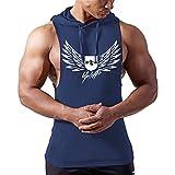 Homme Débardeur Uni T-shirt sans Manches Shirt Lâche Maillot de Corps Sport Blouse Fitness Jogging,Bleu,M