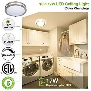 Hykolity 16 Inch LED Ceiling Light, 26W [200W Equivalent] 4000K 1960lm BN Finish Dimmable Saturn Flush Mount Ceiling Light, ETL Listed for Hallway, Bathroom,Kitchen, Bedroom, Restroom, Walk in Closet