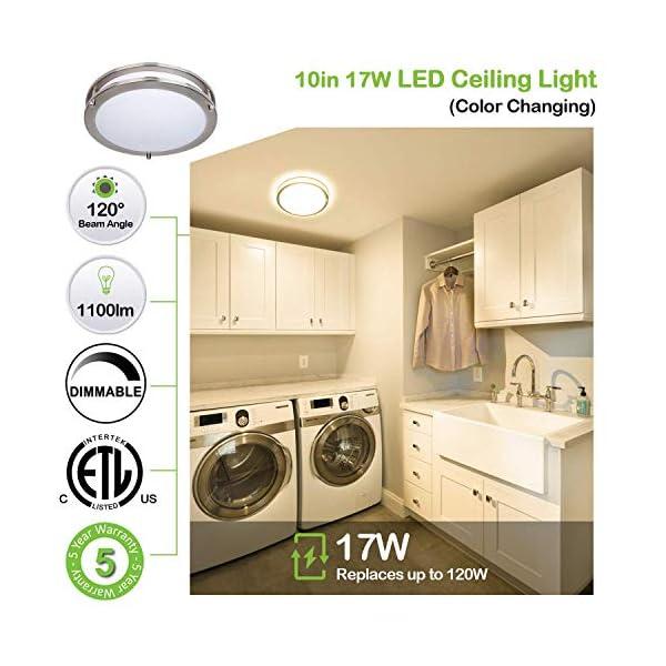 Hykolity 10 inch Flush Mount LED Ceiling Light Fixture, 17W [120W Equiv] 1100lm, 3000K/4000K/5000K Adjustable Ceiling…