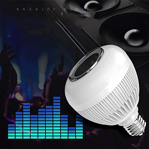 Music LED Light Bulb, E27 Bluetooth Speaker RGB Color Changing Light Bulb with Remote Control, LED RGB Wireless Music Play Speaker Dimmable Bulb Light Flame Lamp,Party, Home (A)