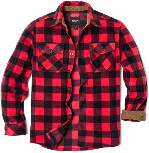CQR Men's Long Sleeve Heavyweight Fleece Shirts, Plaid Button Up Shirt, Warm Corduroy Lined Collar & Cuffs Shirt, Polar Fleece(hos210) - Red, X-Large