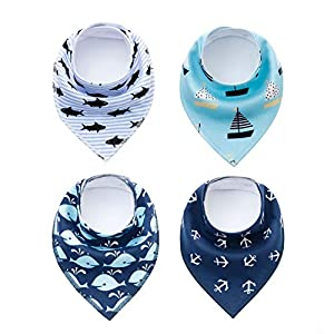 SKYCOOOOL 4 Pack Funny Navigation Style Small Pet Dog Cat Signature Puppy Bandana Triangle Scarf Bibs with Soft Cotton Material for Puppy Accessories
