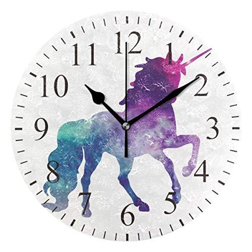 Bonipe Aquarell-Wanduhr, Einhorn, geräuschlos, Acryl, 25,4 cm, für Zuhause, Büro, Schule, Dekoration, runde Uhr