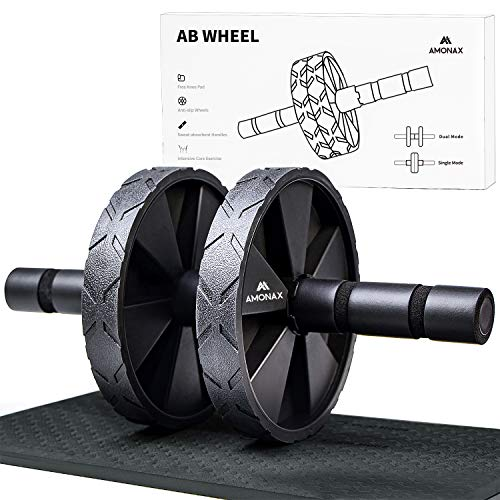 Amonax Ab Wheel Roller with Large Knee Mat for Core Abs Rollout Exercise. Double...