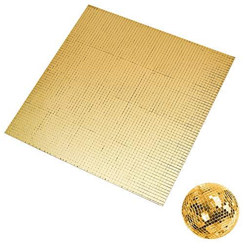 PandaHall Ca. 3600 Stück Spiegel Mosaikfliesen Selbstklebende Glasfliesenaufkleber Golden Mini Square Cabochons Für Wanddeckendekoration Basteln, 5x5 mm