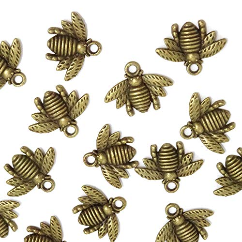 Super Idee 50stk. Antike Bronze Vintage Bienen mit Ösen Deko Taufe Konfirmation Deko Streudeko DIY Halskette Anhänger für Handgemachten Schmuck Machen Hochzeit Geburtstagsparty Partyzubehör