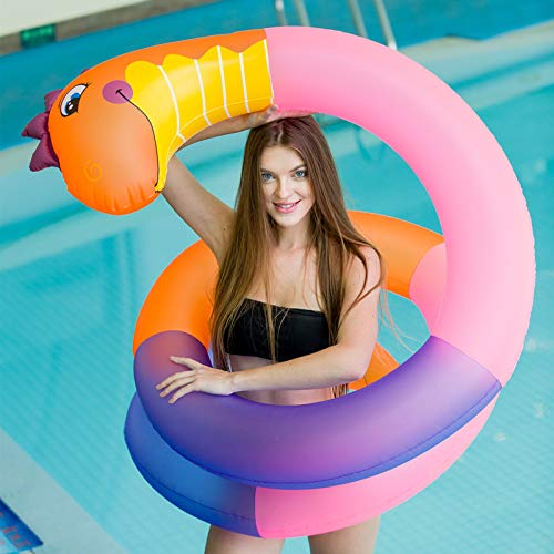 Snake Swim Ring Inflatable Pool Float for Adults Kids Summer Outdoor Beach Swimming Pool Party Stuffed Floating Animal Snake for Garden Farm Pool Props