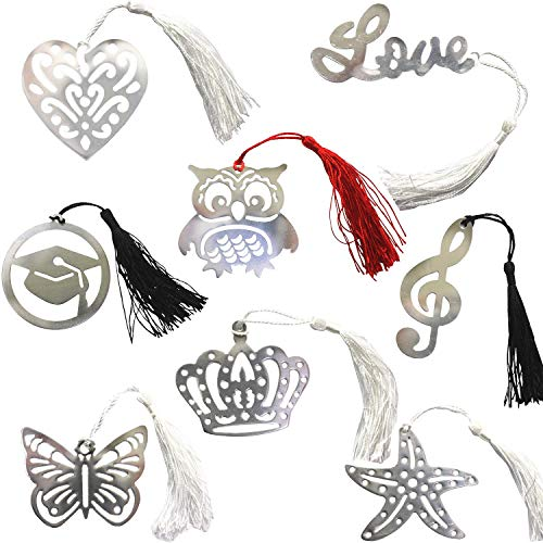 MIAO JIN 8Pcs Metal Hollow Bookmarks with Elegant Silk Tassel, Gifts Wedding Favors