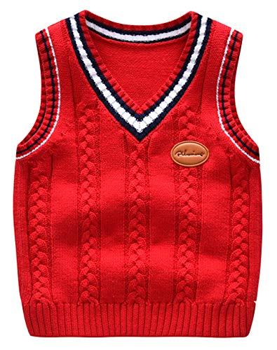 DEMU gebreide vest met V-hals voor kinderen gebreid vest zonder mouwen gebreide trui vest top