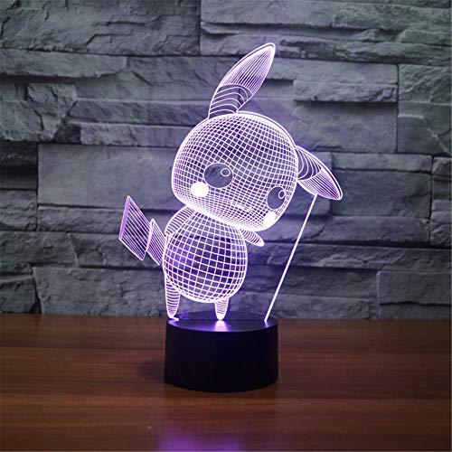 3D lámpara visual 3D luz de la noche Pikachu 3D luz lámpara 16 colores cambiar con remoto vacaciones y cumpleaños regalos ideas para niños
