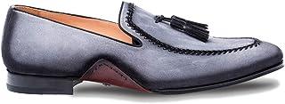 حذاء رجالي من Mezlan Plaza مصنوع من الجلد الإيطالي الفاخر - حذاء غني من الجلد المدبوغ العتيق بنعل جلدي - مصنوع يدويًا في إ...