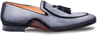 Plazza Mens Luxury Italian Loafers - Rich Antiquated Suede Shoes with Leather Sole - Handcrafted in Spain - Medium Width