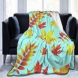 ujmki Manta de 152,4 x 127,0 cm con hojas caducas, súper suave, acogedora manta de felpa para cama, sofá, silla, sala de estar, otoño, invierno y primavera