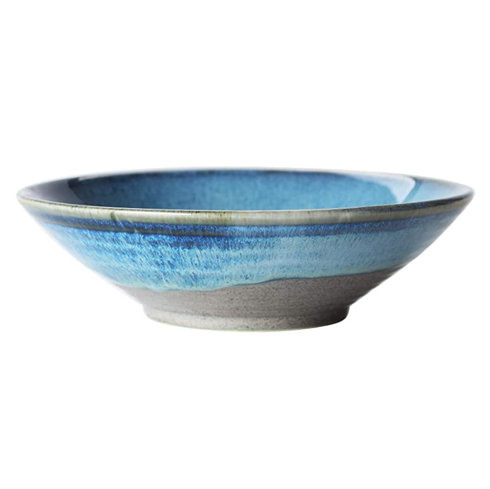 HHXWU Plates Plates Tableware Japanese Retro Ceramics Threaded Bowls Household Noodles Shallow Mouth Bowls Pasta Bowls Fruit Salad Bowls, Blue