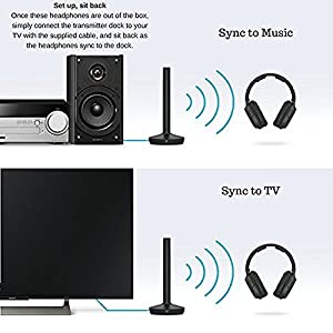 Sony Wireless RF Headphone 150-Foot Range, Noise Reduction, Volume Control, Voice Mode, 20-Hr Battery Life –NeeGo 6-ft 3.5mm RCA Plug Y-Adapter for TV