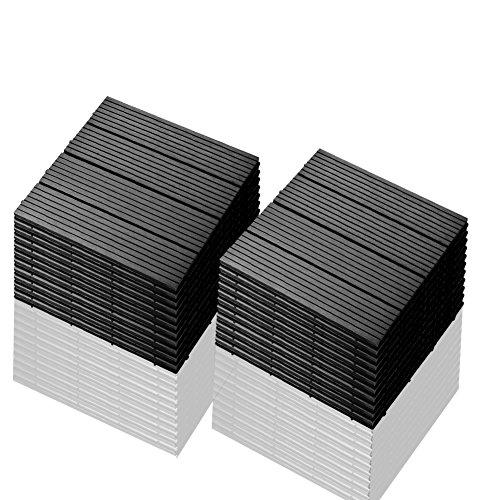 SIENOC 22 Stück/ca. 2m² Terrassen-Fliese aus WPC Kunststoff, 22er Spar Set für 2 m², Garten-Fliese, Balkon Bodenbelag mit Drainage Unterkonstruktion 30x30cm (22x Grau 300 * 300 * 22mm)