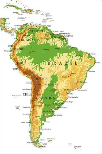 Poster 61 x 91 cm: Südamerika - Topographische Karte von Editors Choice - hochwertiger Kunstdruck, neues Kunstposter