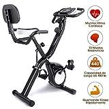 EVOLAND Bicicleta Estática Plegable, Bicicleta de Entrenamiento de Fitness 10 Niveles Resistencia Ajustable con Monitor Rítmo Cardíaco y 2 Bandas Elásticas para Ejercicio Entrenamiento en Casa