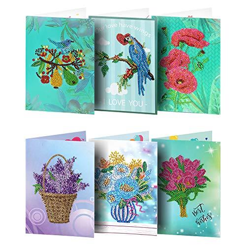 Broadroot 6 stücke Grußkarten DIY Diamant Painting Malerei Stickerei Feiertag Geburtstag Karte Postkarten Geschenk Handwerk