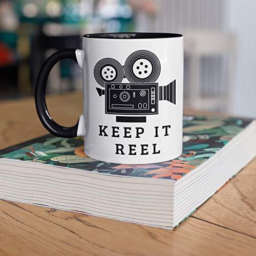 DKISEE Taza de director de cine, Keep It Reel, Funny Directing Movies Taza de café, regalos para directores de cine, estudios de cine de cine, taza de campamento