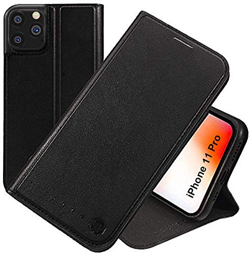 Nouske iPhone 11 Pro Case Flip Folio Wallet Stand up Credit Card Holder Cover Holster/Magnetic Closure/TPU bumper/360 Full Body Protection, Black.
