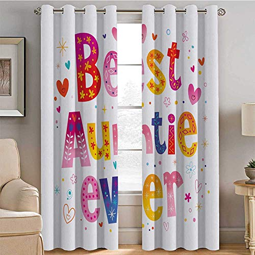 Light Blocking 85% Blackout Curtains, Aunt Heat Insulation Curtain, Doodle Style Best Auntie Ever Typography Childish Family Hearts Flowers Kids Cartoon W63 X L72 Inch, Multicolor